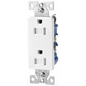 Cooper Wiring Devices,TR1107W-BOX,Cooper Wiring TR1107W-BOX Decorator Straight Blade Duplex Receptacle, 125 VAC, 15 A, 2 Poles, 3 Wires, White