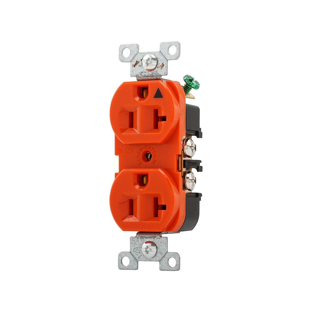 Cooper Wiring Devices,IG5362RN,Cooper Wiring Arrow Hart AHIG5362RN Straight Blade Single Receptacle, 125 VAC, 20 A, 2 Poles, 3 Wires, Orange