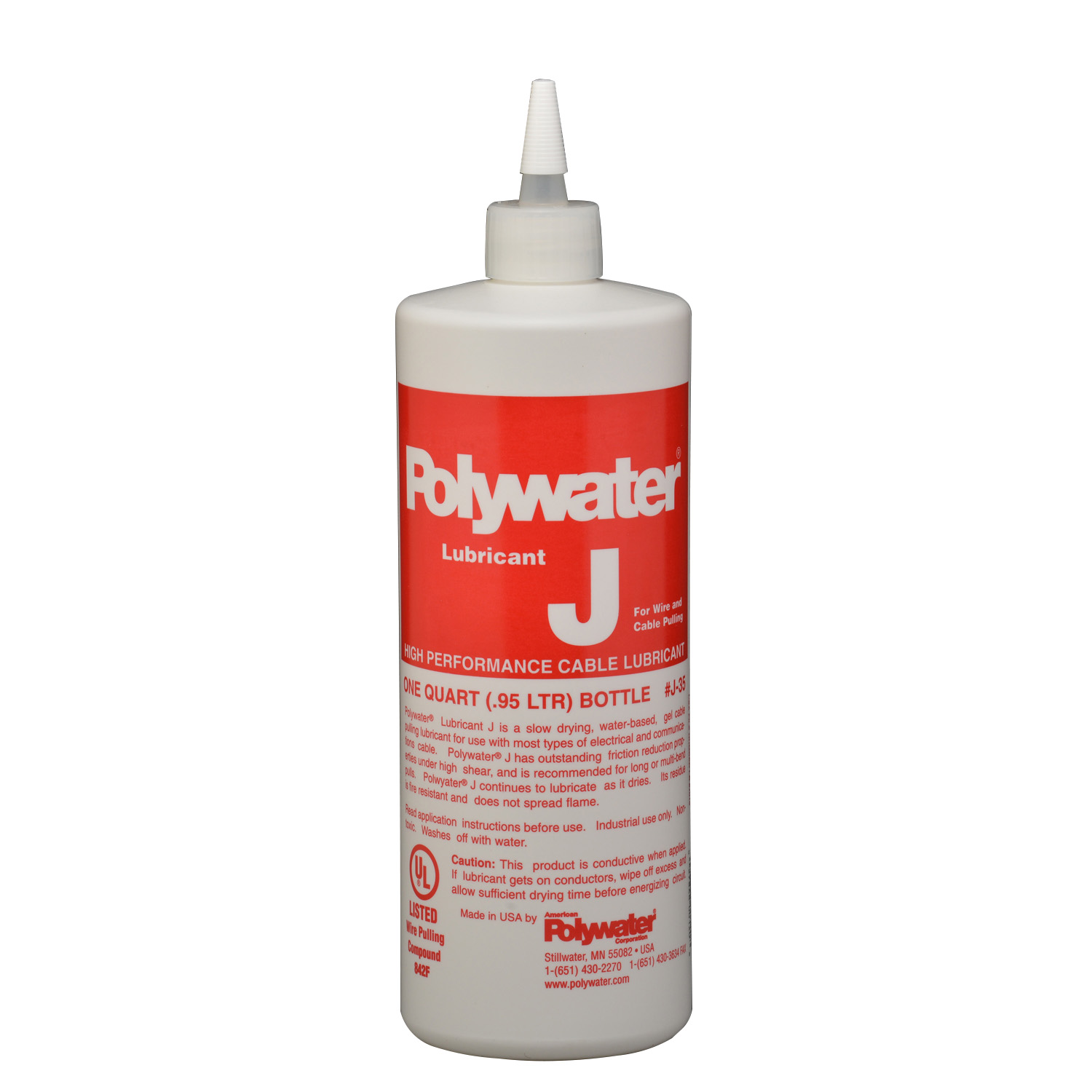J-35 POLYWATER WIRE LUBRICANT, 1-QUART SQUEEZE BOTTLE