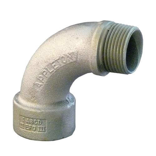 APPLETON,LMFL90-150,Appleton® LMFL Non-Insulated Bushed Elbow, 1-1/2 in Trade, 90 deg, Malleable Iron, Electro-Zinc Plated