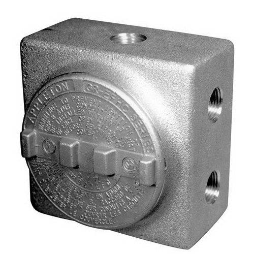 Appleton GRSS75 Aluminum Explosion-Proof Conduit Outlet Box; 3/4 In, 7 Hubs, 4 Plugs, Aluminum