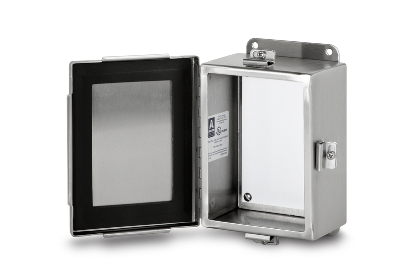 AUSAB-884JHFX 8X8X4 STAINLESS STEEL NEMA TYPE 4X HINGED COVER JIC ENCLOSURES, AUSTIN