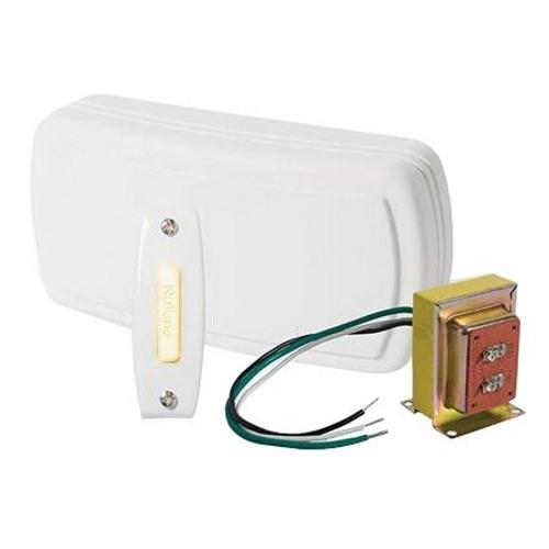 NuTone BK115LWH Wired Illuminated 2-Note Door Chime w/ One Illuminated Push Button Doorbell & Transformer