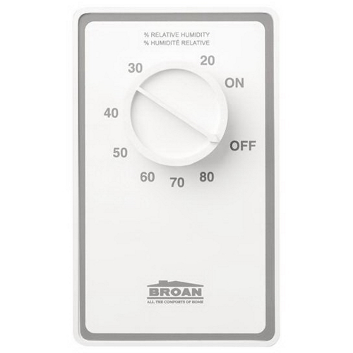 Broan,DH100W,NuTone® DH100W Rectangular Humidity Control, 20 to 80% Adjustable, SPST Switch