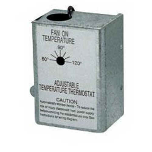 Automatic, adjustable thermostat replacement part for NuTone powered attic ventilators.