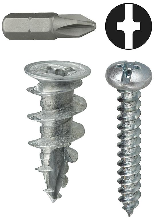 DOT WDK8 #8 Anchor Kit Wall Driller ( Zinc ) Includes Phillips