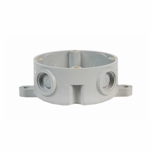 Edwards Signaling,105BX,Edwards Signaling™ 105 Outlet Box Attachment, (4) 3/4 in Threaded Hubs, Gray