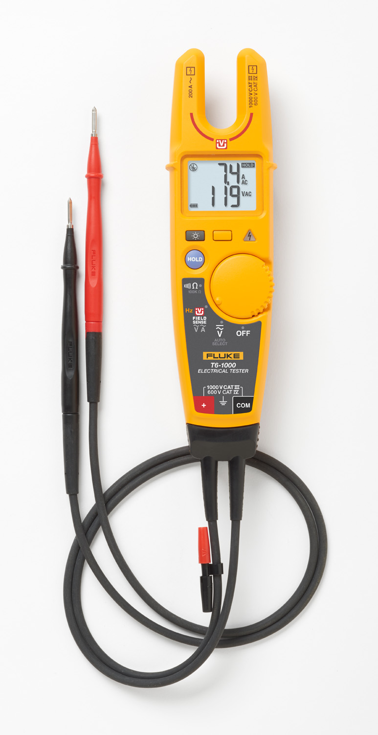 Fluke T6-1000 Voltage, Continuity & Current Tester Up To 1000VAC/ DC Through Non Contact Open Fork Jaw, For Wires Up To 4/0 Awg Carrying Up To 200 Amps Or 1000V CAT III & 600V CAT IV Cable, 1000 Ohms Resistance, Current/ Voltage Can Be Tested w/o Breaking The Circuit, 17.8 MM Jaw Opening, Includes Attached Leads w/ Removable 4 MM Probe Caps & User Instruction Manual