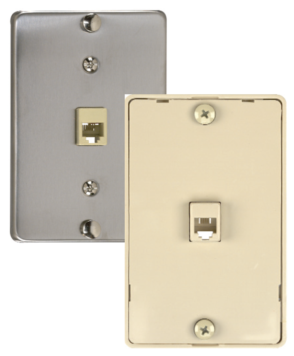 Wiring Devices Wallplates Data Phone Frost Electric Rj11 Jack White 4 Wire Quick Connect Wall Mount Telephone Wallplate