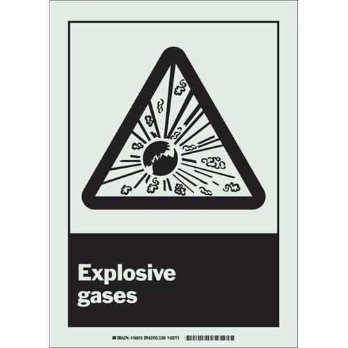 Brady® 100610 BradyGlo™ Rectangle Danger Sign, 14 in H x 10 in W, Black on Glow-In-The-Dark, Surface Mount, B-379 Glow-In-The-Dark Plastic