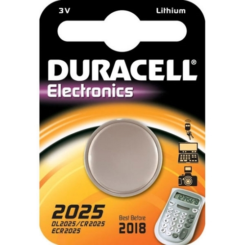 Duracell DL2025 Lithium Coin Battery;2025 Size, 3V, 160 mAh Capacity