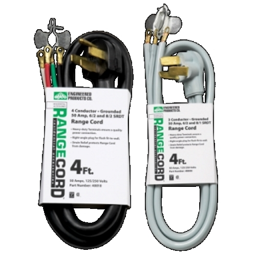 Engineered Products 40001  6-Ft Range Cord, 3-Wire, Gray, 50 Amp