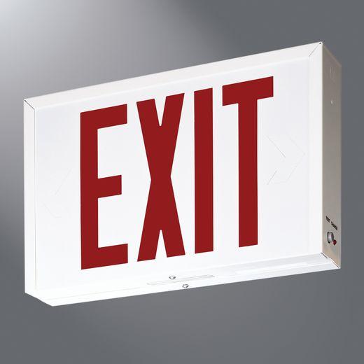 Cooper IRiS,SLX7,Sure-Lites® SLX7 Single or Double Face Exit Sign, LED Lamp, 120/277 VAC, White Housing, EXIT Legend