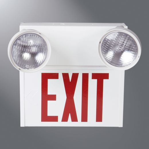Cooper Sure-Lites,UNH1SRWDH,STEEL EXIT W/EMERGENCY LIGHTING HEADS  S