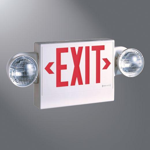 Cooper Sure-Lites,LPX7DH,Sure-Lites® LPX7DH Universal Face Combo Lighting Unit and Exit, LED Lamp, 1.09 W Fixture, 120/277 VAC, White Housing