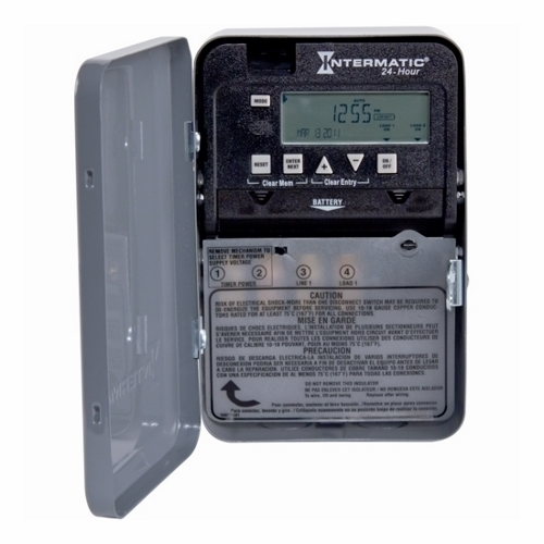 Intermatic,ET1105C,Intermatic® ET1100 Electronic Time Switch, 1 min to 23 hr 59 min Time Setting, 120/277 VAC, 1 hp/2 hp, 1 Pole