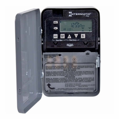 Intermatic ET1705C NEMA 1 Steel Case 7-Day 120 to 277 VAC 60 Hz 30 Amp SPST Electronic Time Switch