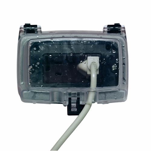 Intermatic WP1000HC 1-Gang 2-1/4 Inch Horizontal Hinge Clear Weatherproof Cover with Guard Insert