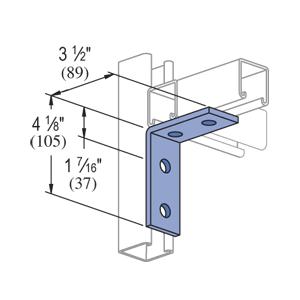 UNISTR P1325-HG 4 Hole 90 Degree L Bracket (Hot Dipped Galvanized) 3-1/2 x 4-1/8