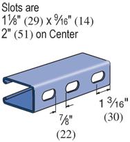 UNISTRUT,P5500T-20PG,STRUT,1-5/8inX2-7/16in,TSLOT,20ft,PG