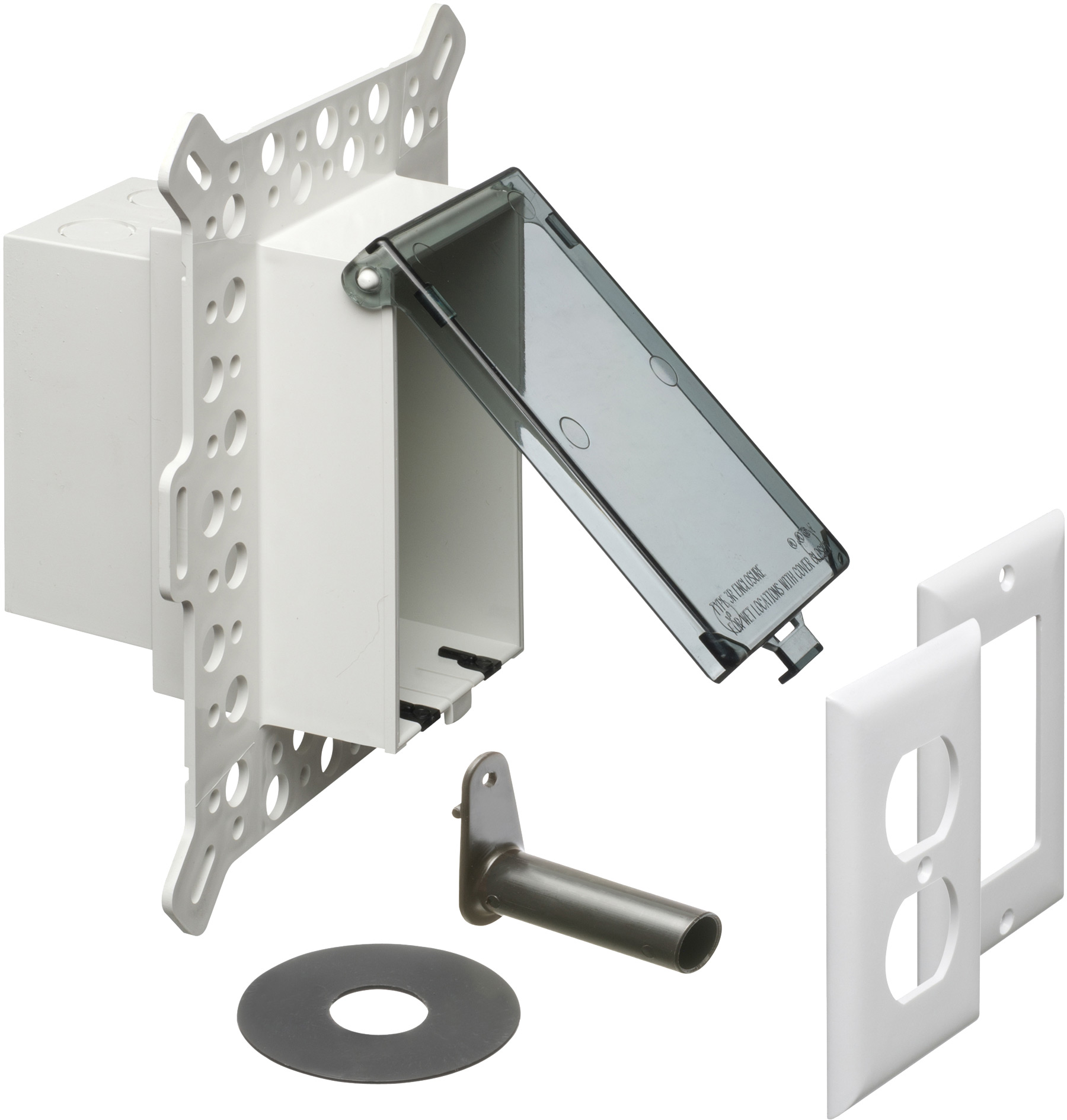ARL DBVM1C 7.01 X 5.16 X 9.06IN UV RATED PLASTIC LOW PROFILE BOX Electrical Box with Weatherproof Cover for Textured Surfaces/Rigid Siding/Stucco, New-Construction, Clear, Vertical/1-Gang
