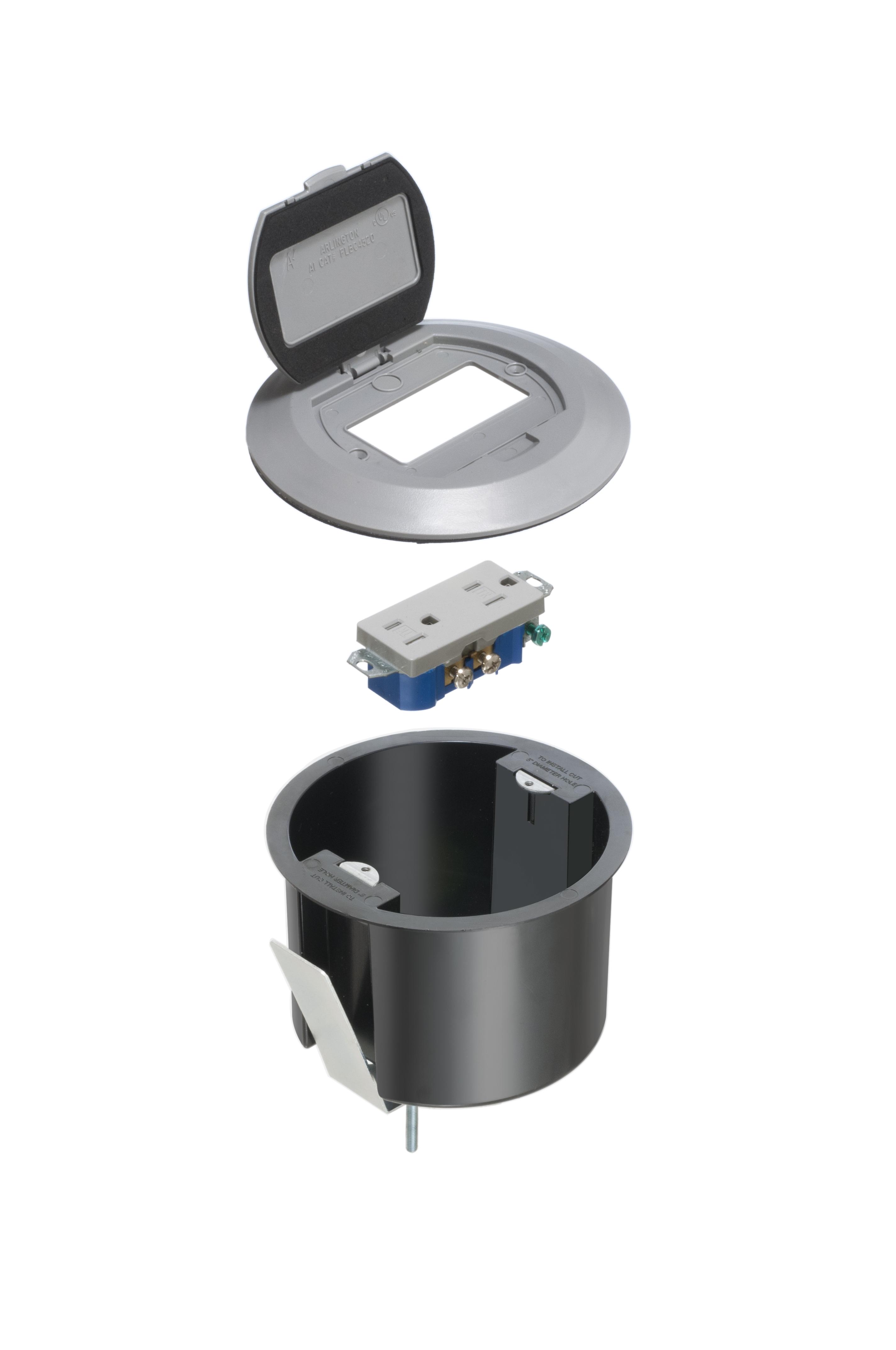 ROUND PLASTIC BOX W/GR