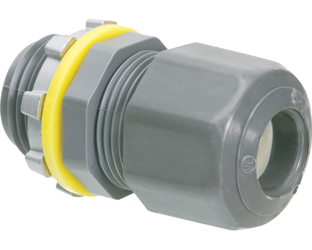 ARL LPCG50 Cord Connector, Low ProfilecTrade/Hub Size: 1/2 Inch, Straight Male Low-Profile Cord Connector, Strain Relief, NPT, Cord Range: 0.200 Inch - 0.472 Inch, Material: Non-Metallic.