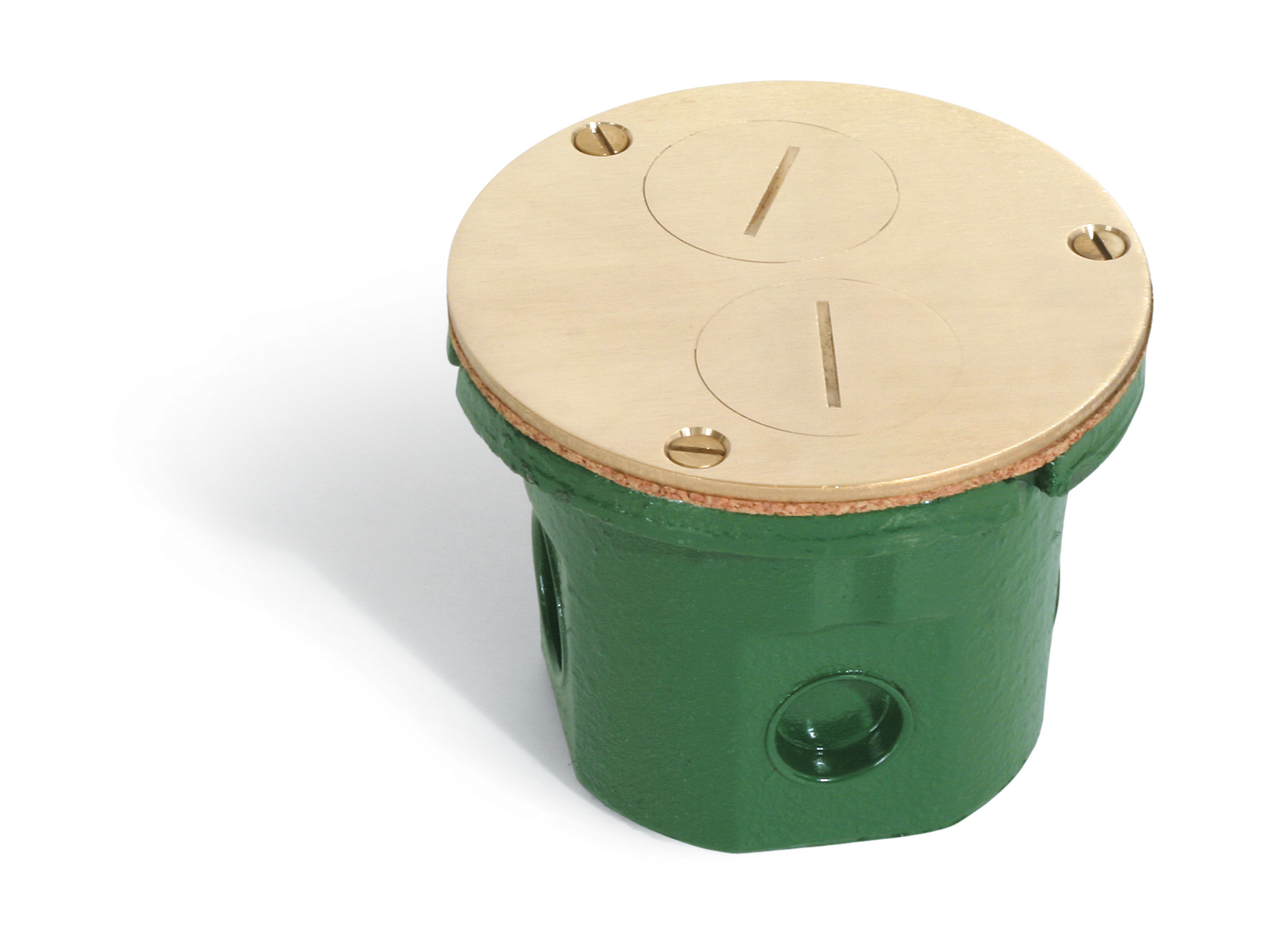 Lew Electric Fittings,812-DFB,Lew Electric 812 Floor Box With 523-DP Brass Cover and 15 A Receptacle, Cast Iron, 14.5 cu-in