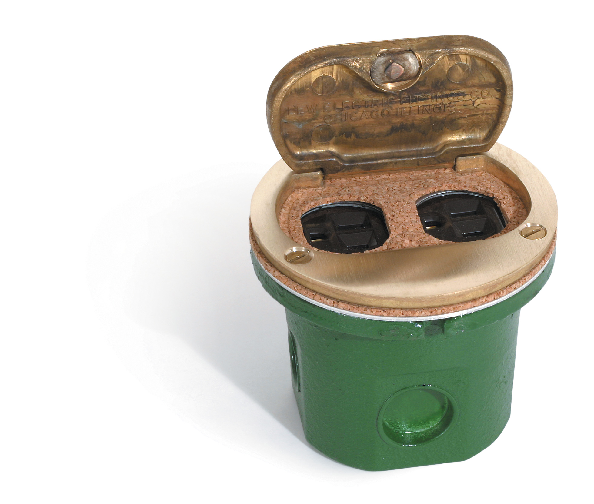 Lew Electric Fittings,812-DFBW/DFB-1,Lew Electric Fittings 812-DFBW/DFB-1 Residential Floor Box, Round, Duplex Receptacle, Material: Metallic, Size: 3.125 IN Length X 4.000 IN Dia., Color: Brass, Rugged Construction, 14.5 CU-IN Cubic