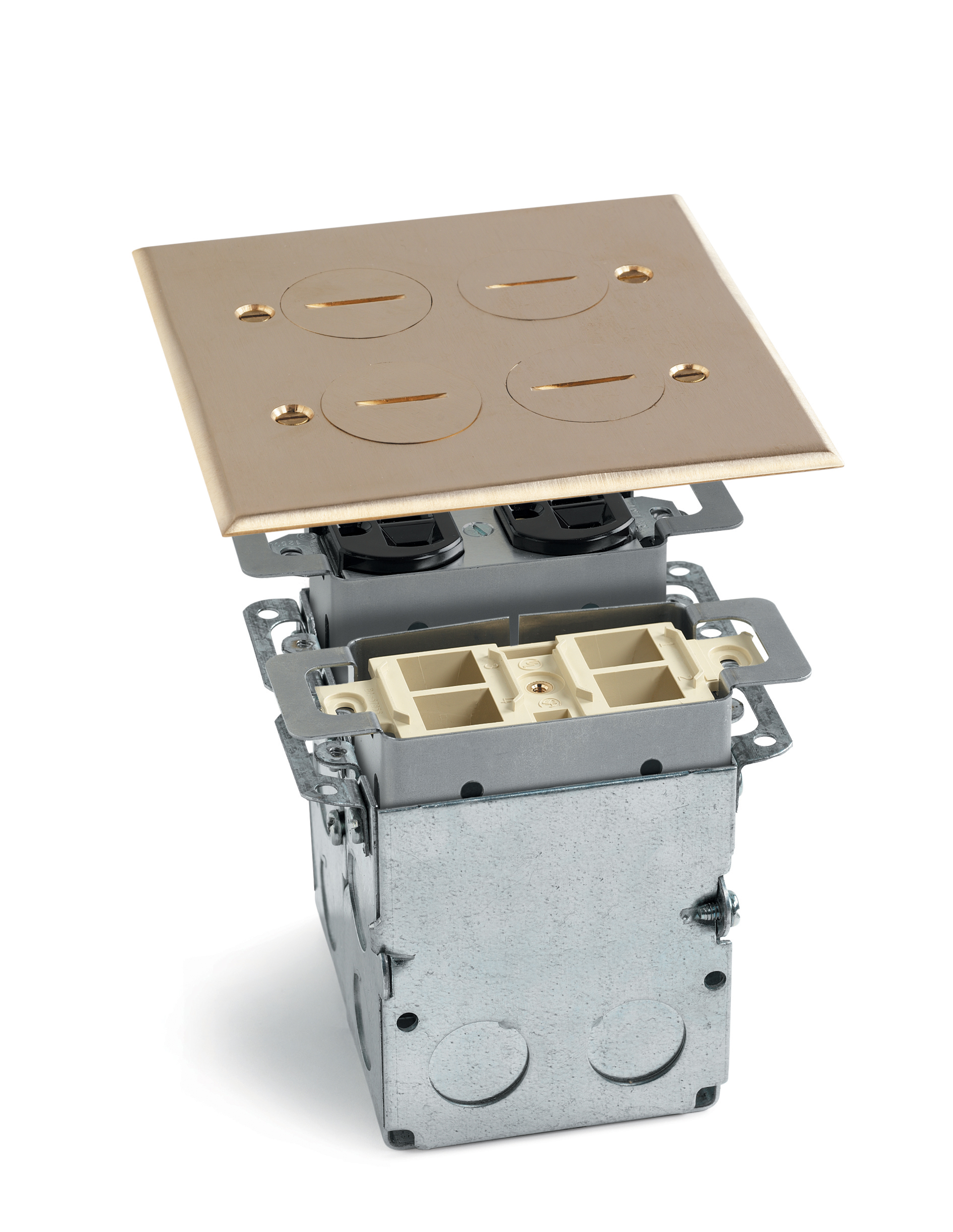 QUAD BOX W/(2) DPLX OUTLETS BRS & 1 QUAD