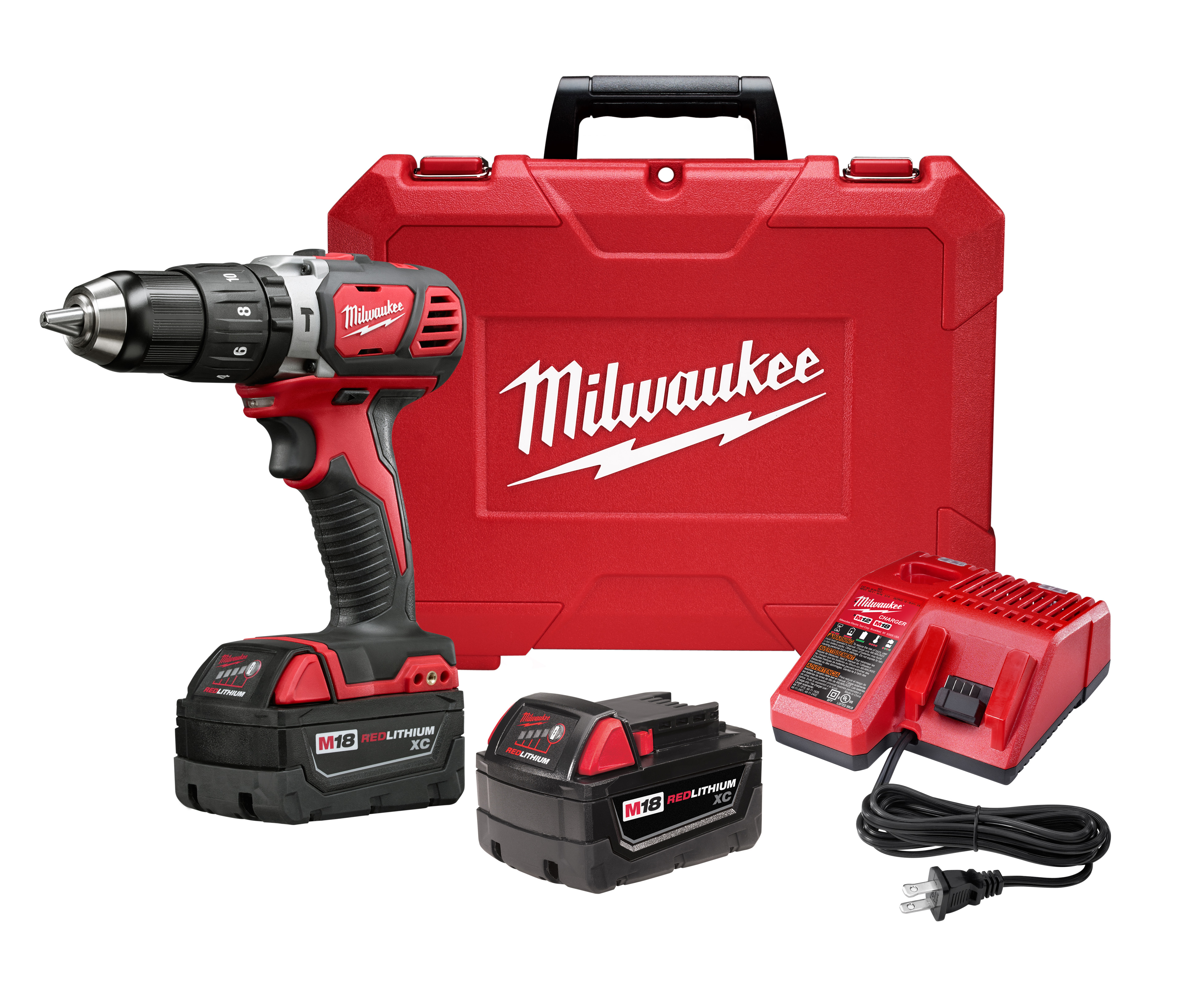 "Milwaukee 2607-22 M18™ Compact 1/2"" Hammer Drill Driver Kit w/ XC Batteries"