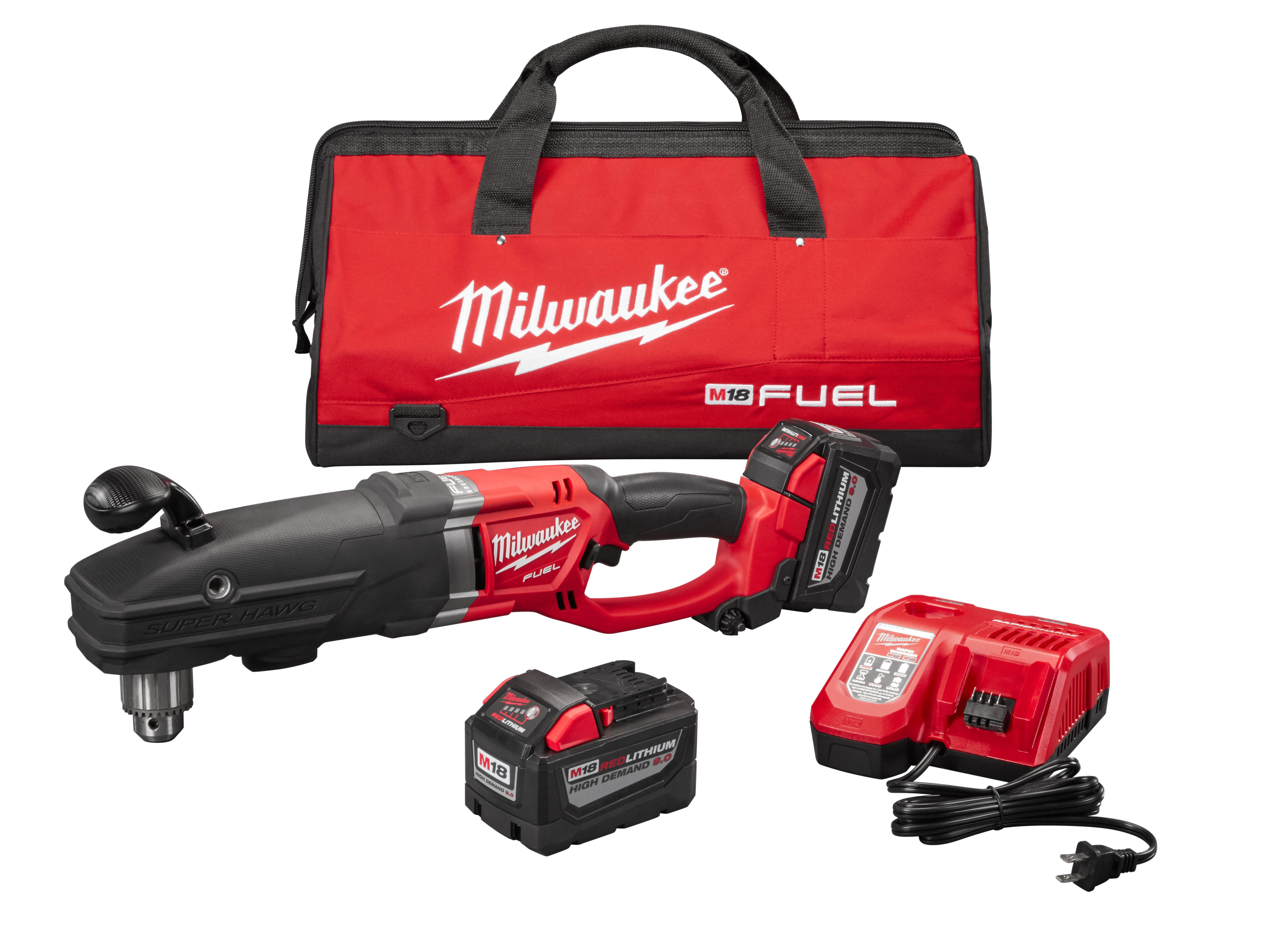 "Milwaukee 2709-22HD M18 FUEL™ Super Hawg™ 1/2"" Right Angle Drill HIGH DEMAND™ Kit"