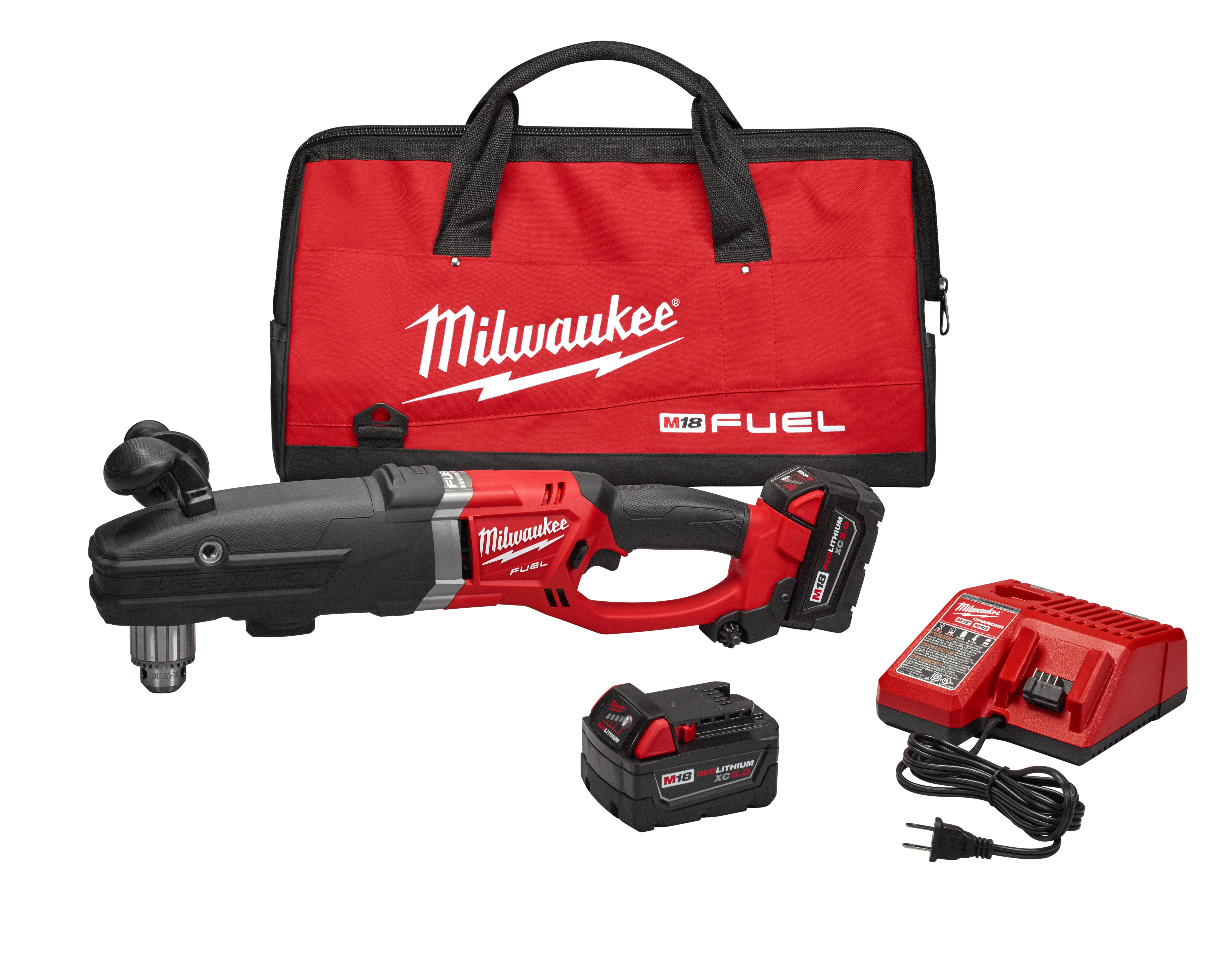 """Milwaukee 2709-22 M18 FUEL™ Super Hawg™ 1/2"""" Right Angle Drill Kit"""