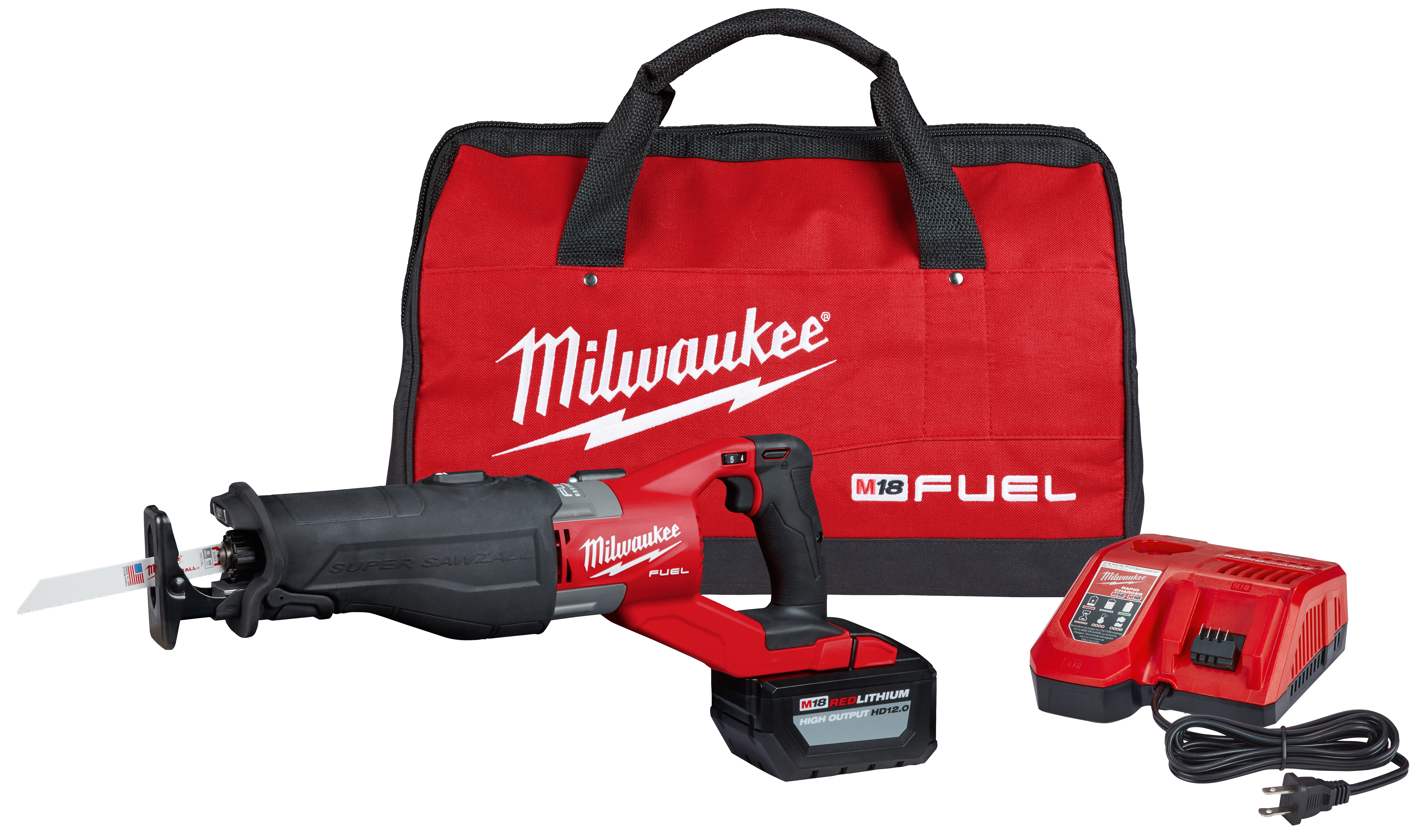 Milwaukee® 2722-21HD M18 FUEL™ SUPER SAWZALL® Cordless Reciprocating Saw Kit, 1-1/4 in L Stroke, 0 to 3000 spm, Orbital Cut, 18 VDC, 18.9 in OAL