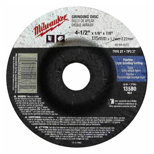MILW 49-94-4510 GRINDING DISC 4-1/2 X 1/8 X 7/8