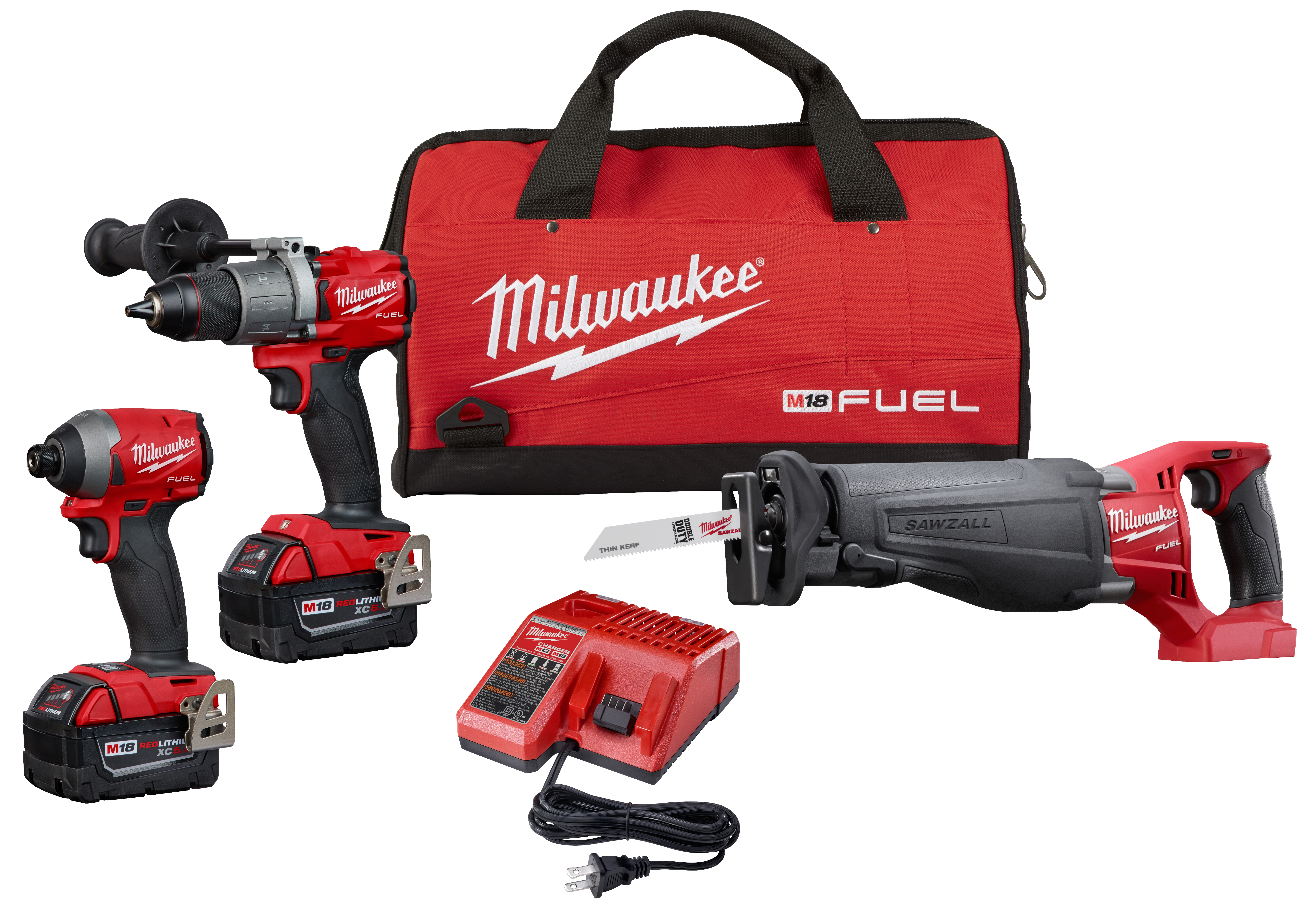 "Milwaukee 2997-23 M18 FUEL™ 3-Tool Combo Kit. Includes 1/2"" Hammer Drill/Driver, 1/4"" Impact Driver, and SAWZALL® Reciprocating Saw"