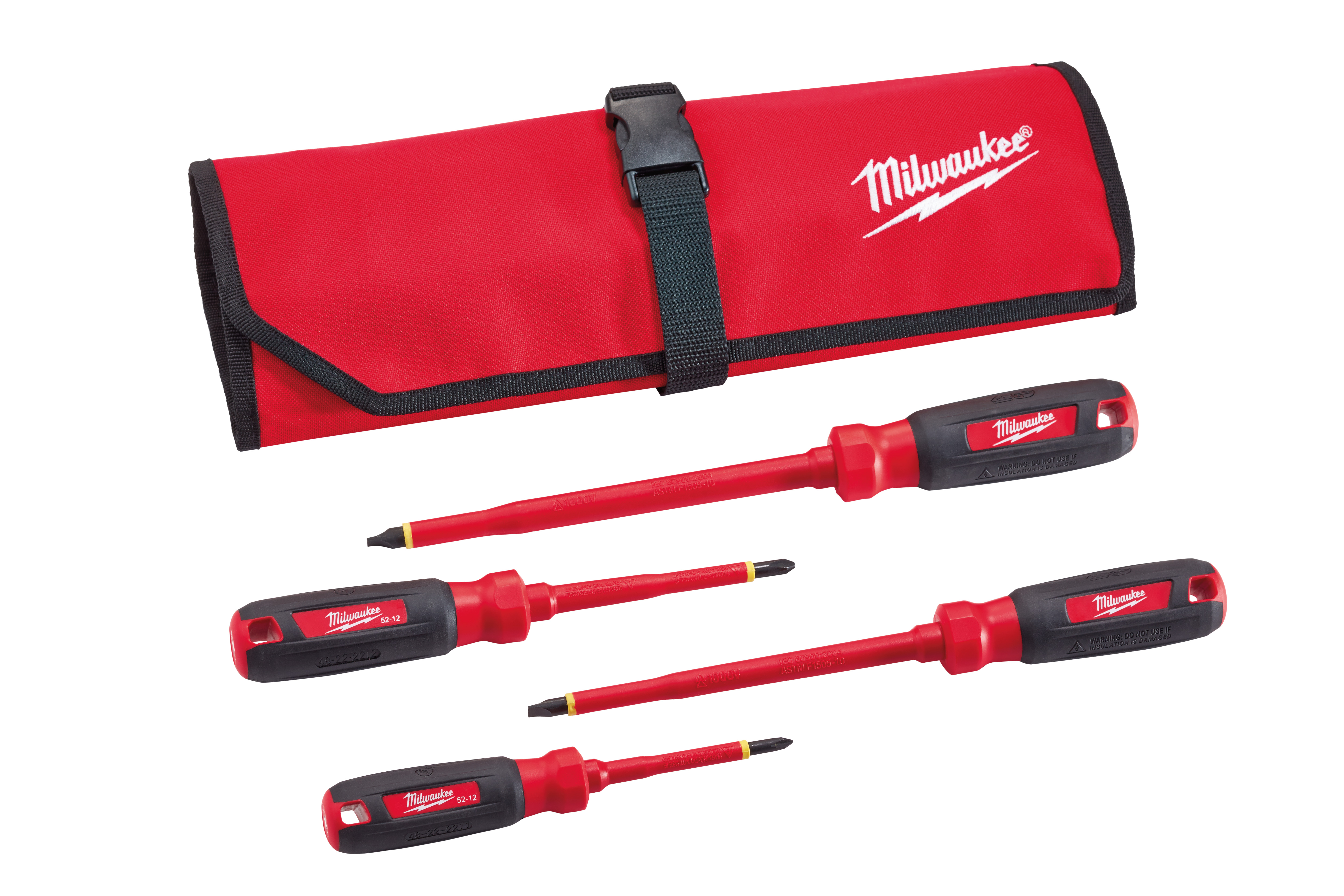 Milwaukee 48-22-2204 4-Piece 1000V Insulated Screwdriver Set w/ Roll Pouch