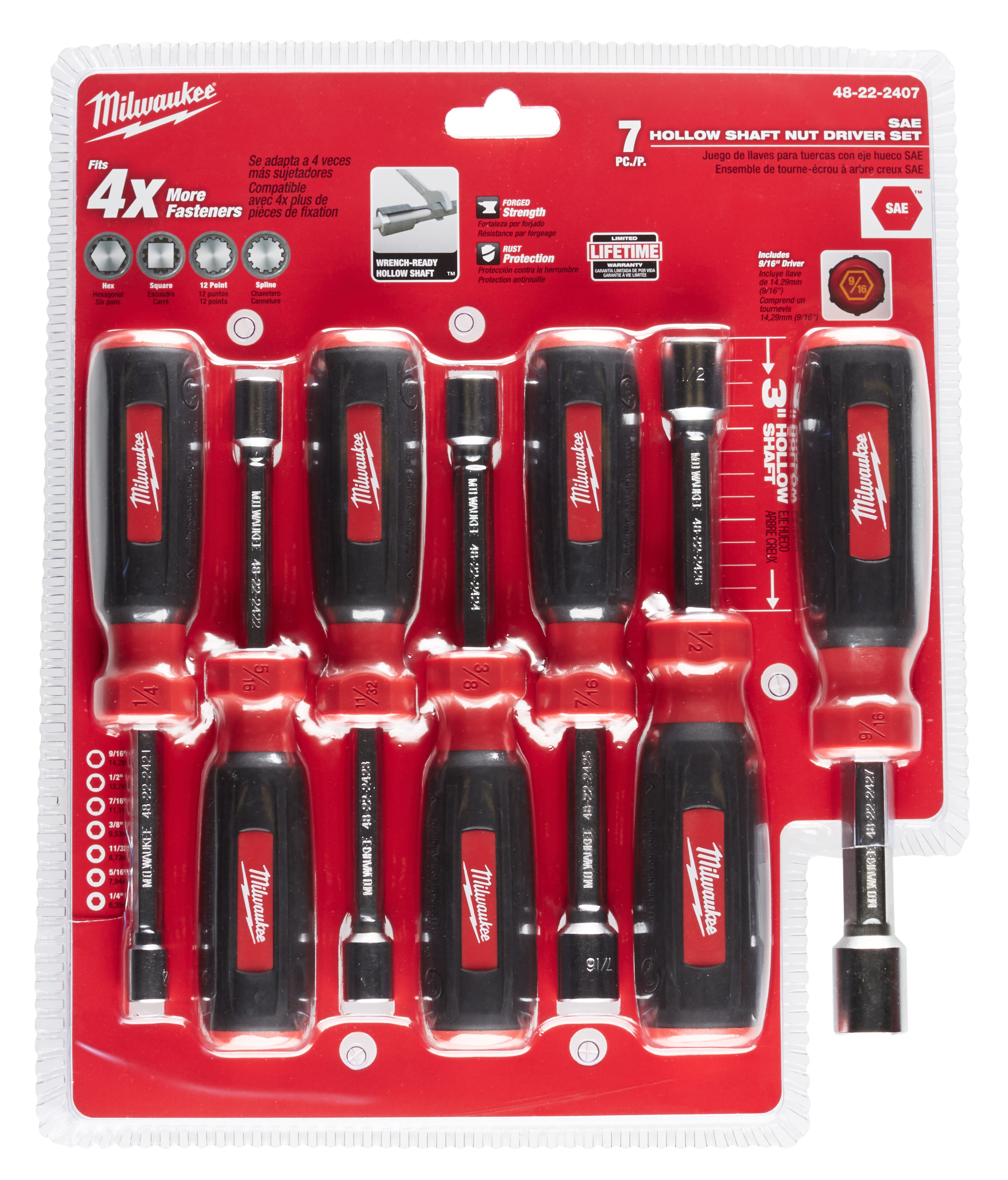 Milwaukee 48-22-2407 7pc Hollow Shaft SAE Nut Driver Set