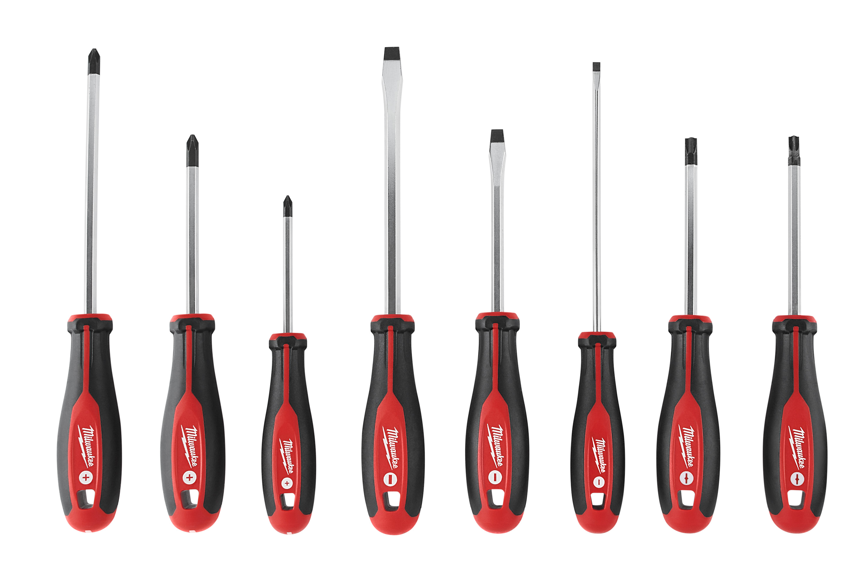 Milwaukee® 48-22-2708 Screwdriver Kit With ECX™ Redesigned Handle and Improved Driver Tips, 8 Pieces, Steel