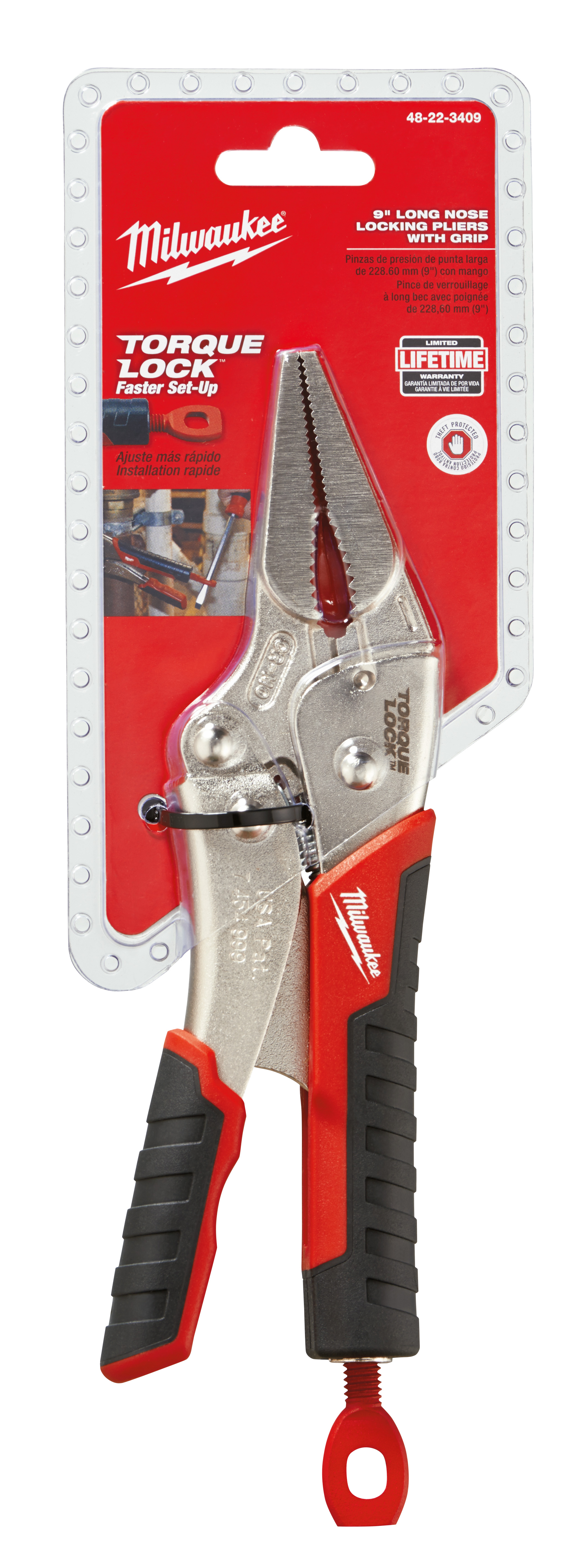 """Milwaukee 48-22-3409 9"""" Torque Lock Long Nose Locking Pliers with Durable Grip"""