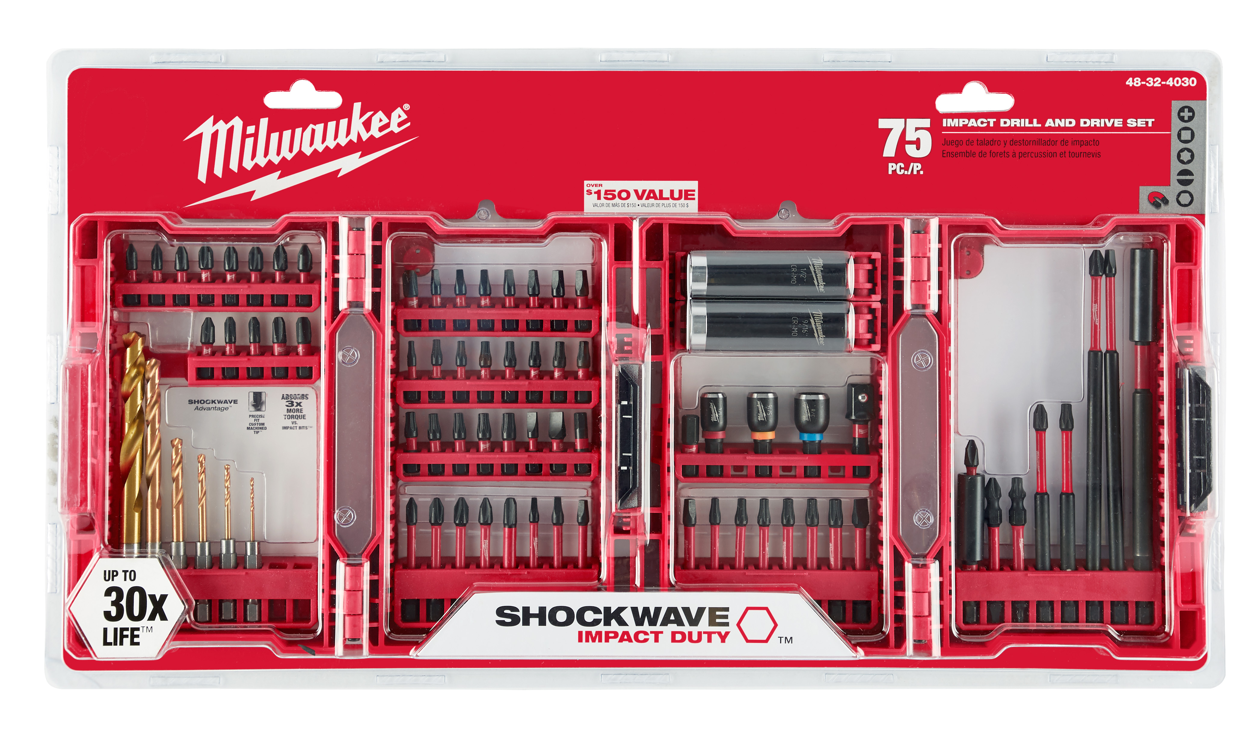 Milwaukee 48-32-4030 SHOCKWAVE™ 75-Piece Impact Drill and Drive Set