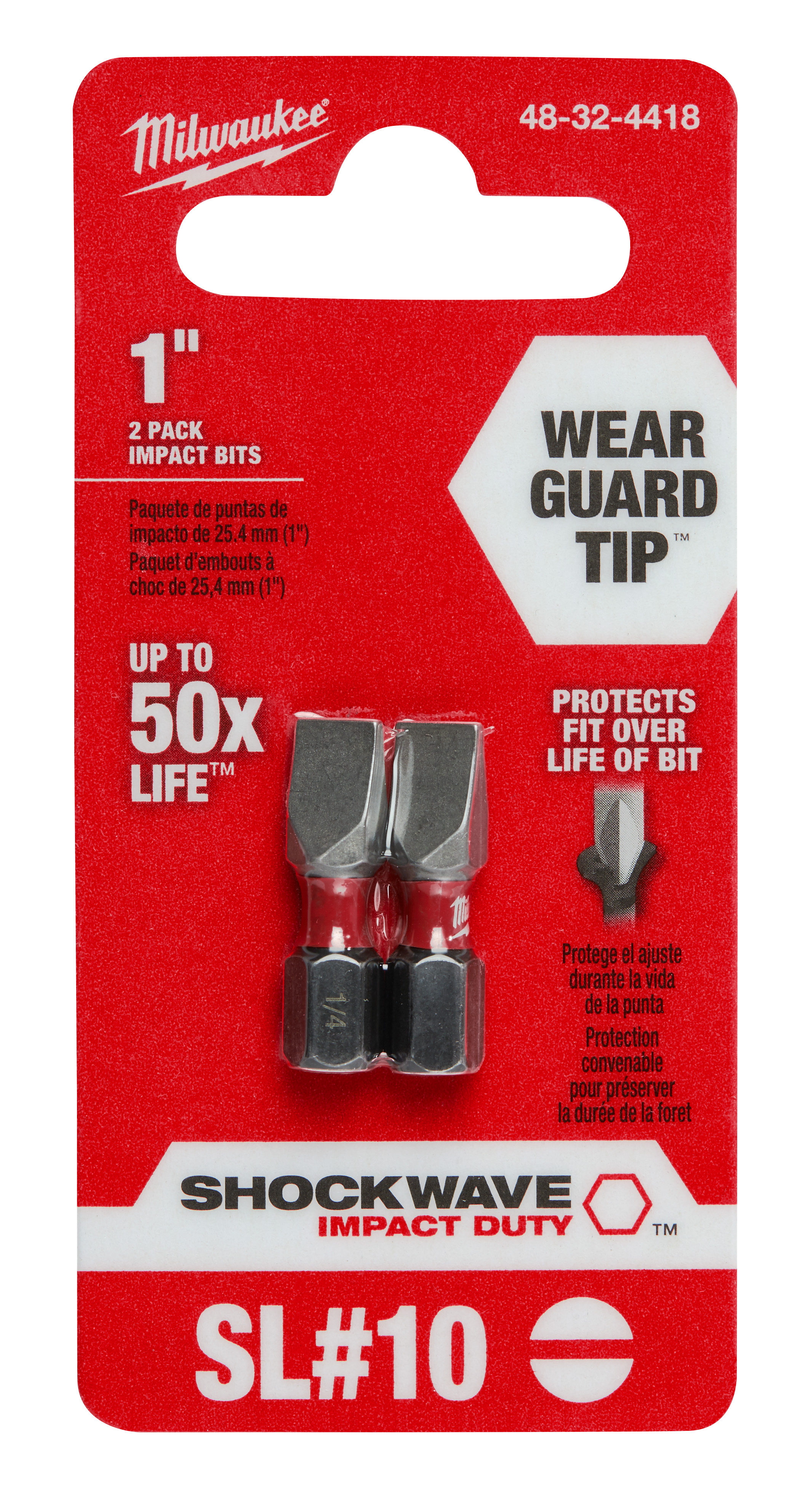 "Milwaukee 48-32-4418 SHOCKWAVE™ 2-Piece Impact Slotted 1/4"" Insert Bits"