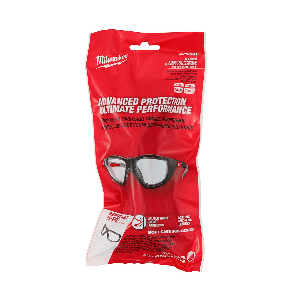 MILWAUKEE 48-73-2041 HI PERFORM CLEAR GLASSES W/GASKET
