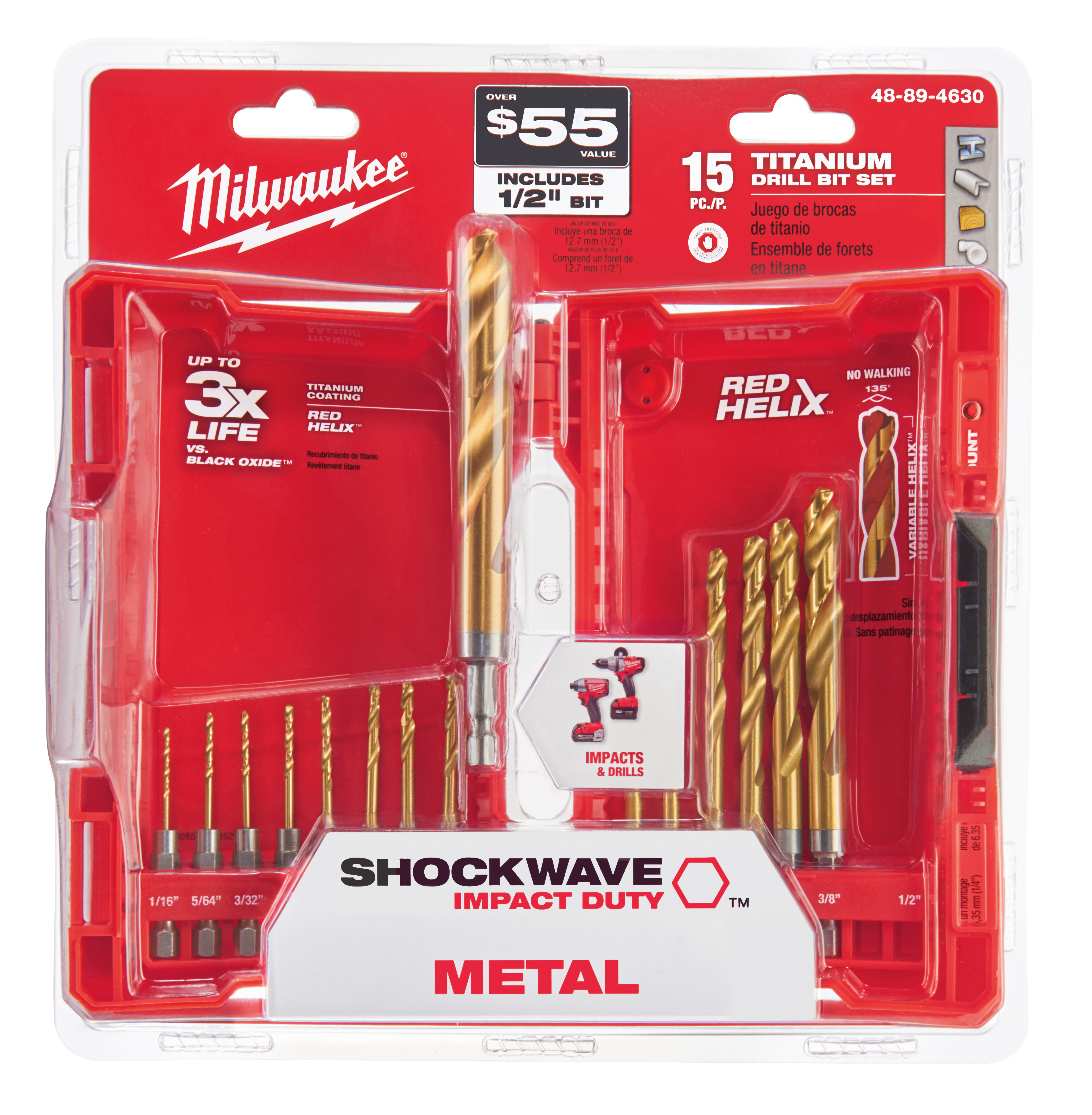 Milwaukee 48-89-4630 15-Piece Titanium Nitride SHOCKWAVE™ Red Helix Kit
