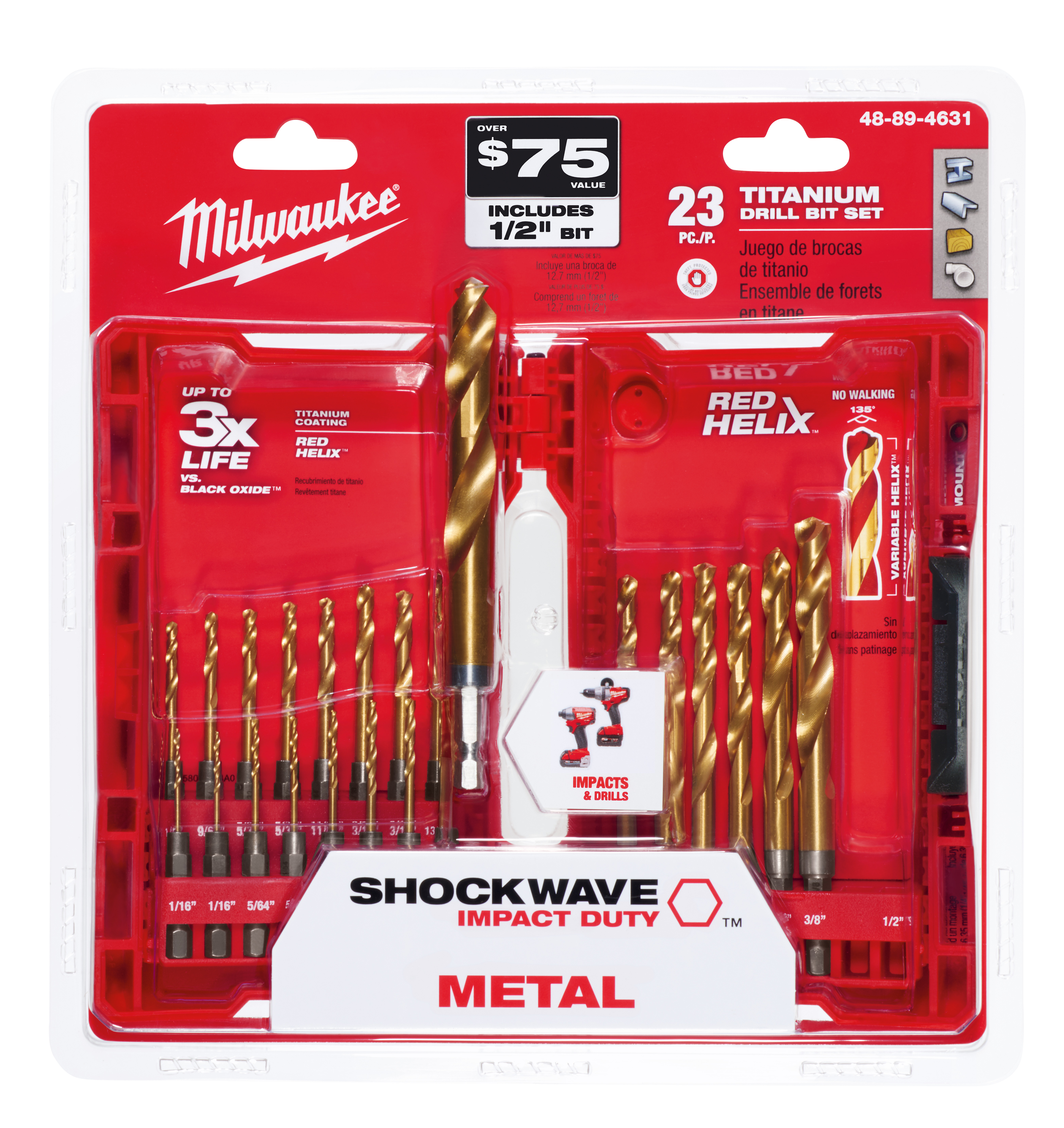 Milwaukee 48-89-4631 23-Piece Titanium Nitride SHOCKWAVE™ Red Helix Kit