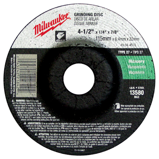 "Milwaukee 49-94-4570 4-1/2"" x 1/4"" x 7/8"" Grinding Wheel (Type 27)"
