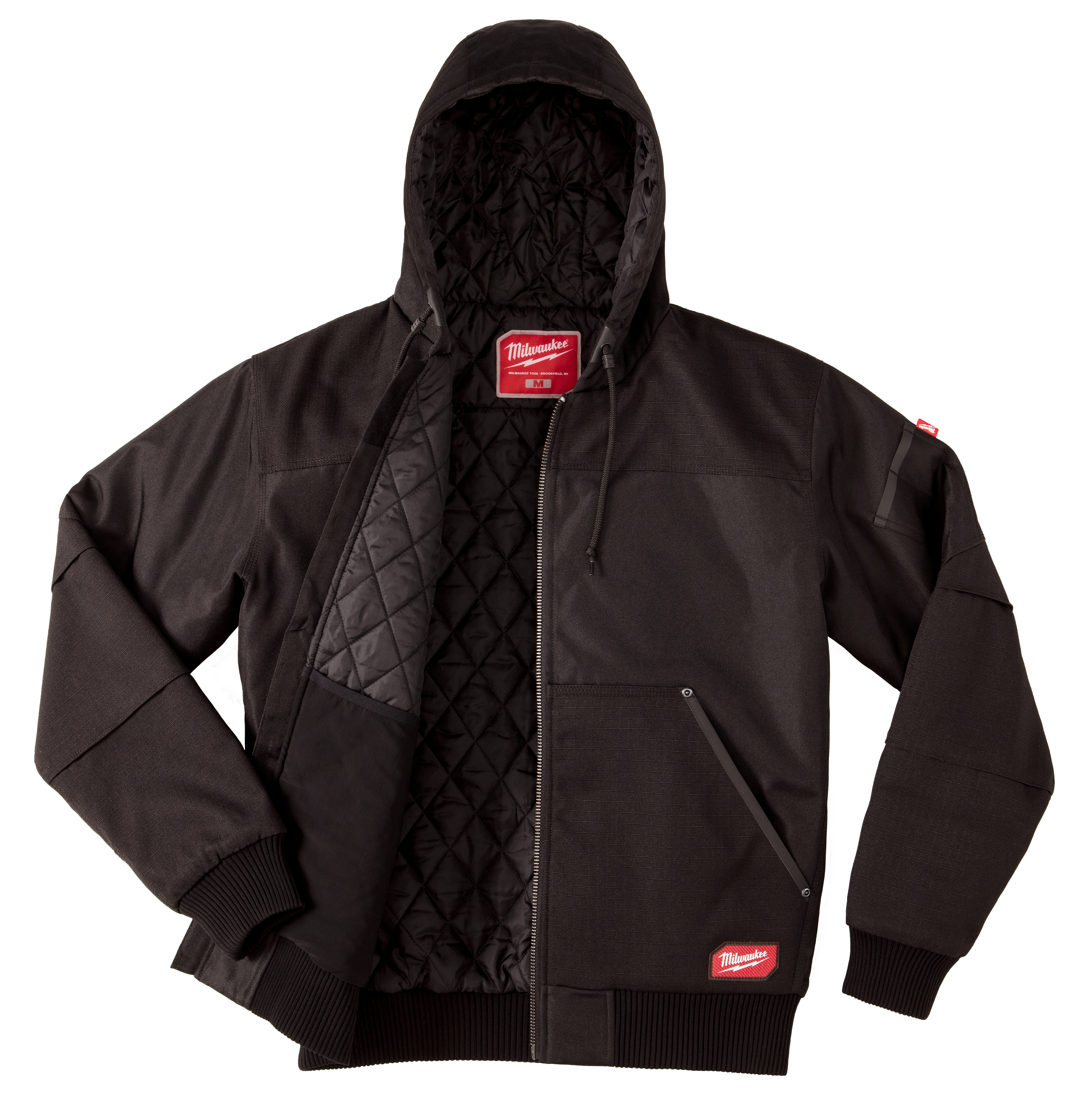 Milwaukee® GRIDIRON™ 254B-S Hooded Jacket, Black, Ripstop Polyester, 38 to 40 in Chest, Resists: Abrasion, Tear, Water and Wind