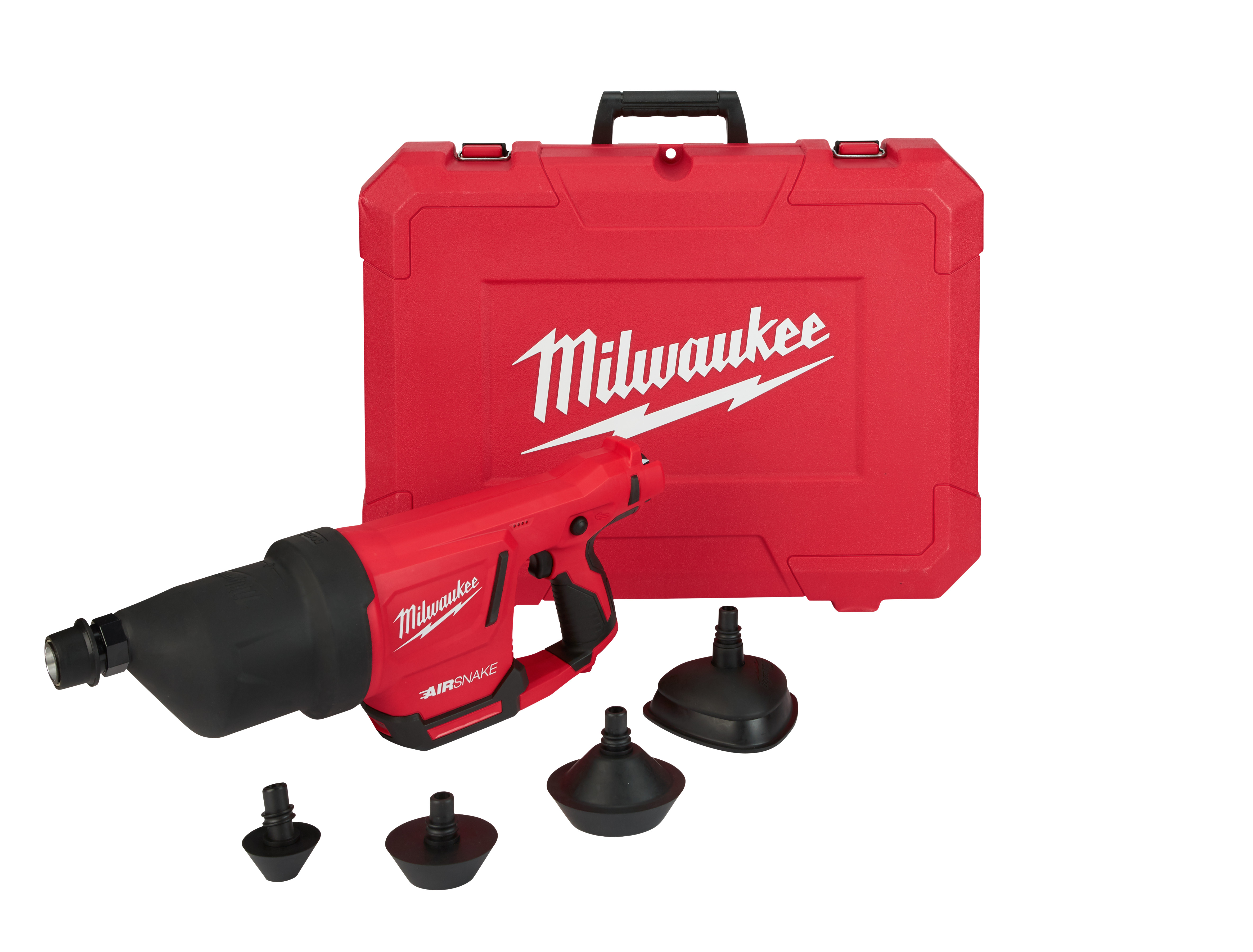Milwaukee® 2572A-20 M12™ AIRSNAKE™ Cordless Drain Cleaning Air Gun, 1 to 4 in Drain Line, 35 ft Max Run, 12 VDC, Plastic Housing, Tool Only