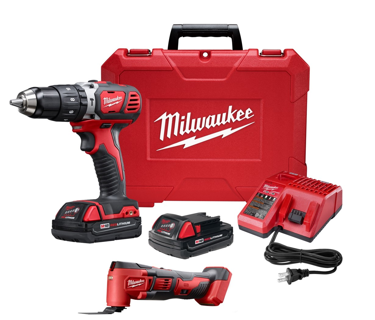 Milwaukee® 2607-22CTM Cordless Hammer Drill/Driver Kit, 1/2 in Metal Single Sleeve Ratcheting Lock Chuck, 18 VDC, 0 to 400/0 to 1800 rpm No-Load