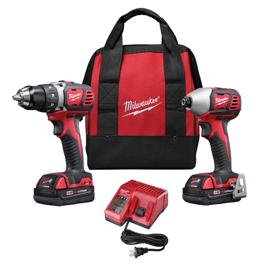 MIL 2691-22 18V COMPACT DRILL/IMPACT DRIVER COMBO W/ TWO BATT & CARRYING CASE